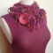 Knitted necklet with bamboo top by Knitz and Leather